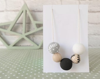 Wooden Necklace-wood bead necklace Black