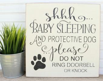 Shhh Baby Sleeping Sign, Do Not Knock Sign, Baby Sleeping Door Sign, Baby Shower Gift