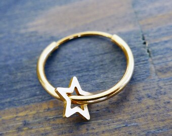 Carry Your Star. 14K Gold Star Nose Ring. Recycled Gold. Eco Friendly. Gold Star Nose Ring. Limited Edition. Helix Piercing. Cartilage Ring.