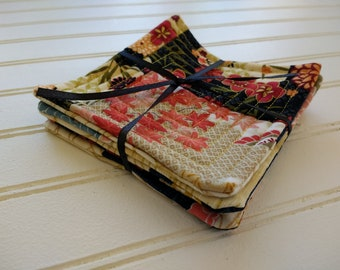 Set of 4 Quilted Coasters - Asian Floral Patchwork