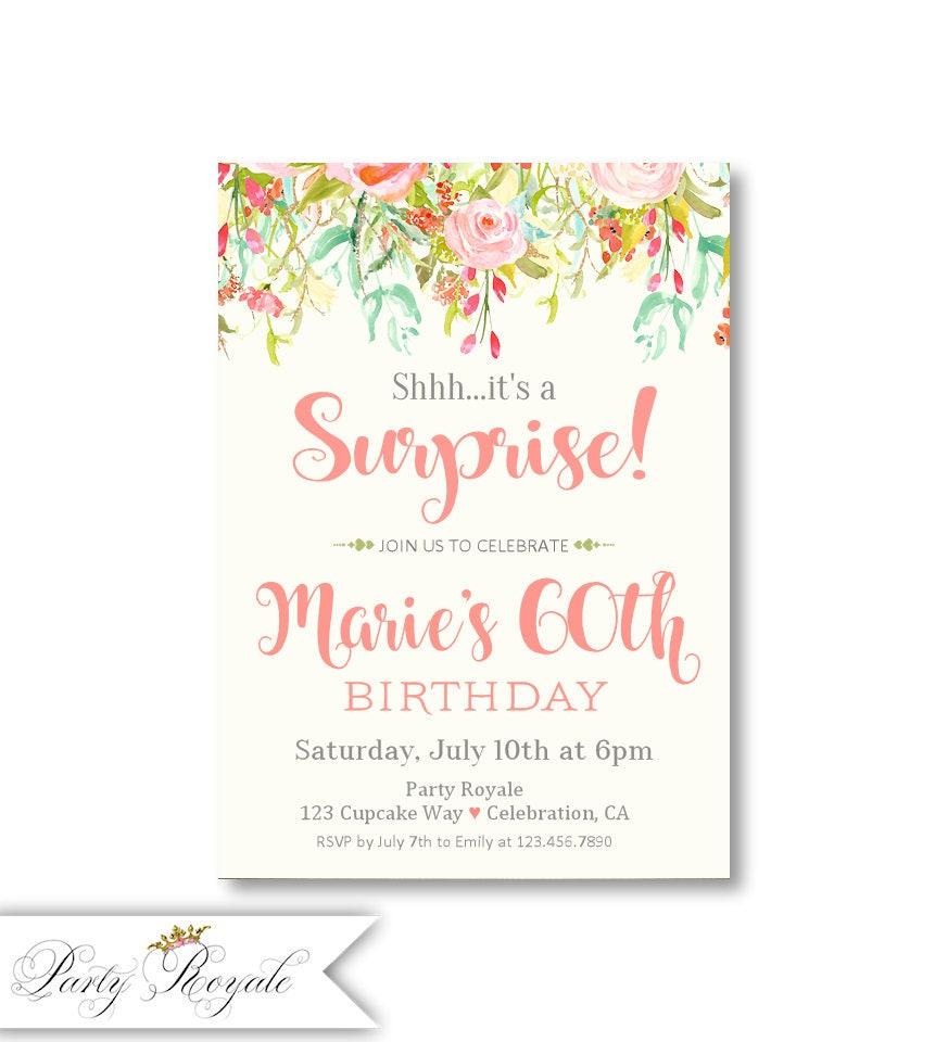 Surprise birthday invitation Surprise 60th birthday invites