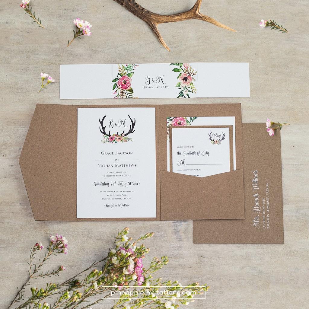 Eco kraft pocketfold floral antler i wedding invitation zoom stopboris Image collections