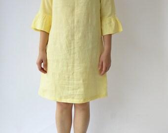 Yellow Bell Sleeve dress, Linen tunic, Dress, Natural dress, Eco-friendly dress 100% Flax Linen