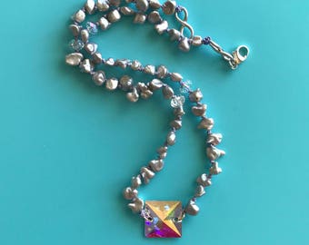 Pearls Meet Swarovski - Pyramid Necklace - One Of A Kind