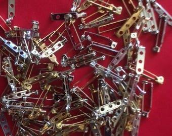 Lot of 100 1 inch Bar Pin Backs (supplies)