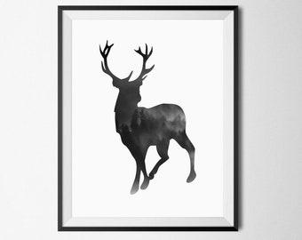 Abstract Deer Wall Art, Black And White Animal Print, Deer Poster,  Scandinavian Print