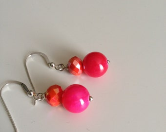 Hot Pink Dangles - Hot Pink Earrings - Pink Agates Crystal Earrings - Fuchsia Earrings - Pink Agate Dangles - Handmade Earrings