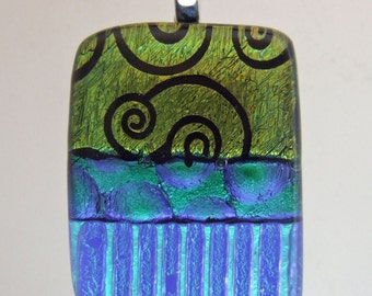 Cobalt Spiral Small Pendant, Handmade Fused Glass Jewelry from North Carolina
