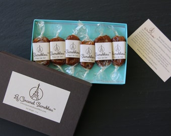 Caramel gift box. 6 gourmet handcrafted  French salted caramels from Le Caramel Sacrebleu.