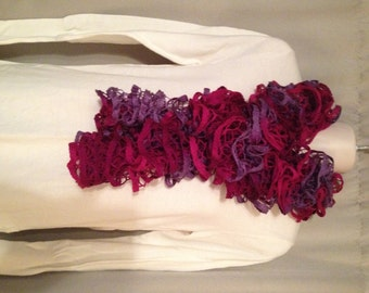 Pink with Purple Ruffle Scarf