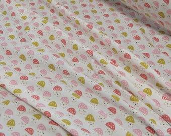Jersey white patterned pink/mustard 25 x 160 cm