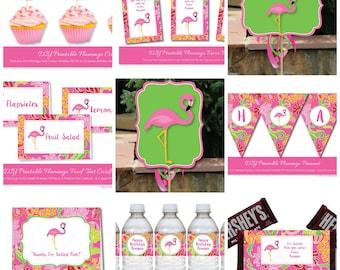Pink Flamingo Party Kit, Pink Flamingo party package, Flamingo Party, Flamingo Birthday Party Kit, Instant Download