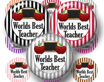 Teacher Bottle Cap Images, 1 Inch Circles, Digital Collage Sheet, Worlds Best Teacher, Stripes, Pendant, Key Ring Images, Printable Download