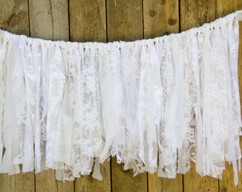 "White Lace Wedding  Garland 27"" by 15""  Baby Shower Garland, Baptism Garland, Shabby Chic Garland"