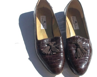 11 tassel loafers dark brown pointed curve toe GRUPPO ITALIANO