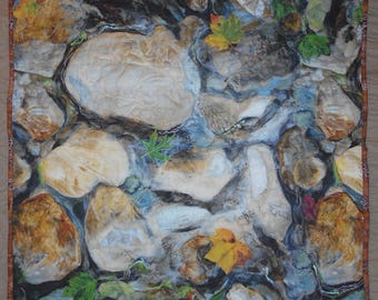 Wall Hanging Art Quilt Sinking Creek English Mountain Smoky Mtns Tn Autumn Leaves Fallen on Water Bubbles Stream Sparkling Water Threadart
