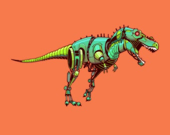 Tyrannosaurus Robosaur art print 8x10 // Robot Dinosaur // Children's Art // Science Fiction