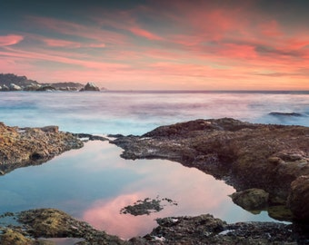 Panoramic Sunset at Point Lobos - panoramic,sunset,earth tones,office decor,home decor,california,rocky,tide pool,scenic,ocean,wide angle