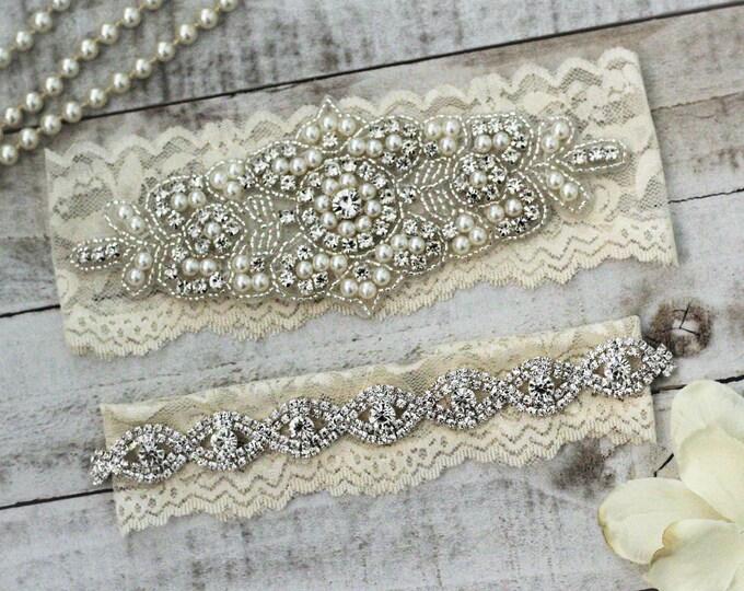 Pearl Bridal Garter Set NO SLIP grip vintage rhinestones, pearl and rhinestone garter set, wedding garters A08S-A*B19S