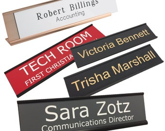 Personalized Name Plate With Wall or Office Desk Holder - 2x8