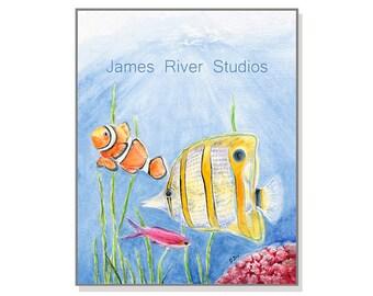 Fish Art Fish Painting Fish Art Print. Fish Watercolor Painting Tropical Fish Art Ocean Art Sea Art Seaweed Art Clownfish Coral Reef Art.
