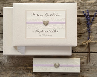 Personalised Wedding Guest Book and Pen Set. Lace and Vintage Jewel Design. Handmade Ivory Wedding Guest Book and Boxed Pen.