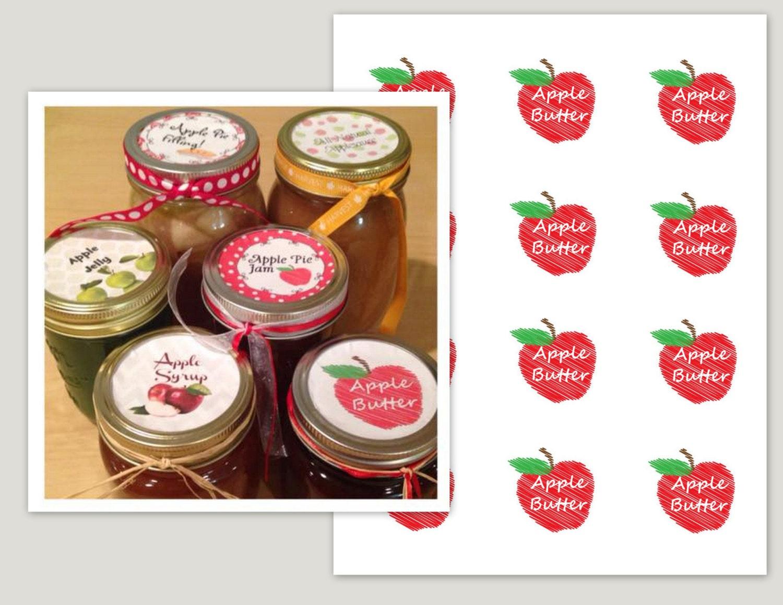 Etiquetas de mantequilla de manzana casera tarro de masón