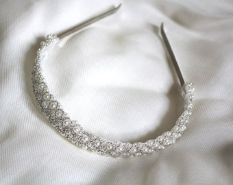 Pearl and Beaded Bridal Crown / Wedding Headband / Silver and Clear Beading