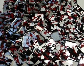 Mosaic Tiles Red Black Silver Glass Mosaic Tile