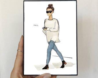 Watercolor and Sharpie Fashion Illustration - Girl Texting - Framed Print