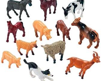 Set of 12 Farm Animal Figurines