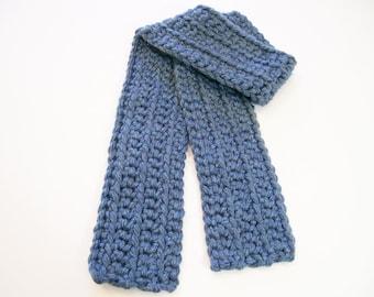 Kid's Blue Scarf, Crochet Child's Scarf, Denim Color Scarf, Boy's Scarf, Girl's Scarf
