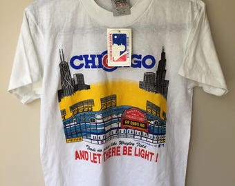 Vintage 80s Chicago Cubs Wrigley Field Screen Stars T-Shirt