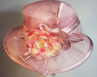 Peach Sinamay Wide Brim Hat with bow and flower