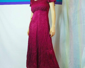 90s Burgundy Full Length Dress