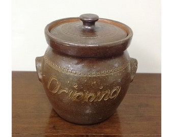 Bendigo Pottery Australia Dripping Lidded Jar with Strainer Signed K.T Epsom Wear Glaze