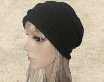Black felted hat, Womens winter hat, Felted wool beanie, Felt hat for lady, Women's wool hat, Warm wool beanie, Womens trendy hat