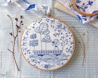 DIY kit, Blue wall art, Sea blue, Hand embroidery - Blue Ocean Embroidery kit - Christmas gift, Blue white, Sea nursery, Embroidery hoop art