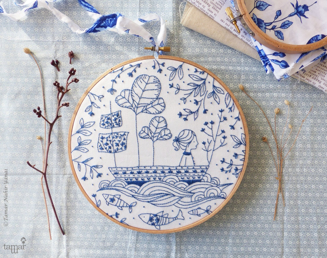 Diy kit blue wall art sea hand embroidery