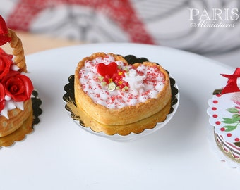 MTO-Heart Shaped Cream Tart for Valentine's Day - 1/12 scale miniature food