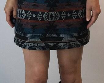 Southwest Mini Skirt/Tapestry Skirt/Pendleton Type Print Skirt/Vintage Southwest Skirt