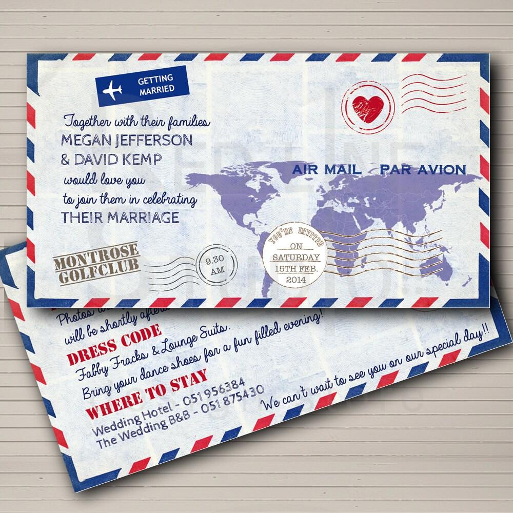 Airmail Wedding Invitations: Wedding Invitation Airmail Theme Destination Wedding