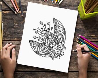 Digital adult coloring pages, flower plant drawing, print, doodle art, zentangle images, digital printable print
