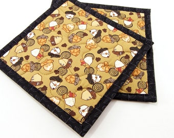 Autumn Hot Pads, Quilted Pot Holders - Acorns and Circles on Golden Brown with Black - Set of Two 8 Inch Potholders