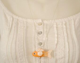 Fish ceramic long necklace