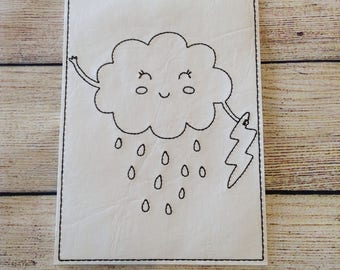 Rain Cloud,  Reusable, Re-usable, Vinyl, Colouring, Sheet, Washable, Markers, Pages, Green, Children, Playtime, Party Favours, Quiet Time