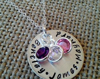 Hand Stamped Mom Necklace With Kids Names - Sterling Silver Family Necklace - Grandma Grand Kids Necklace - Personalized Mother Necklace
