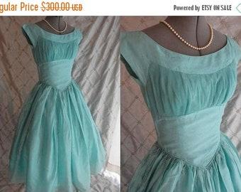 "ON SALE 50s Dress // Vintage 50's Mint Green Blue Organza Party Prom Dress Size M 27"" waist full skirt metal side zipper"