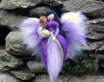 XYLIA- Needle Felted Wool  fairy with baby,nature fairy, Waldorf inspired fairy doll, wool