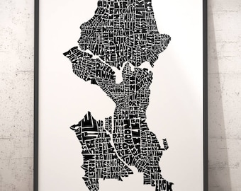 Seattle typography map, Seattle art print, map of Seattle, Seattle neighborhood map, Seattle map art, downtown Seattle, choose color & size